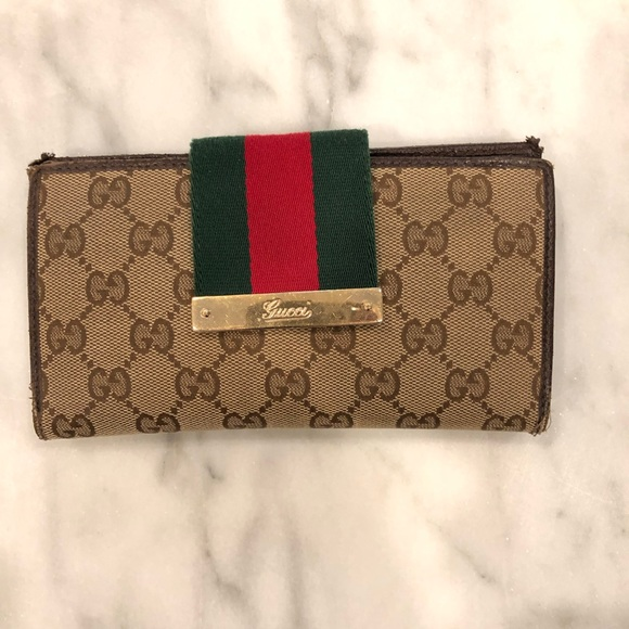 9a394d8defed Gucci Bags | Monogram Web Continental Wallet Brown | Poshmark